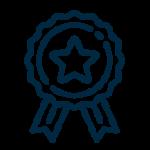 ícone azul com uma medalha estrela